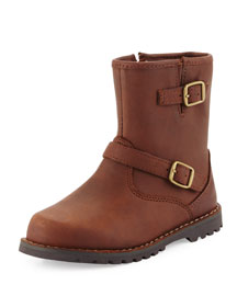 Harwell Leather Buckle-Trim Boot, Stout, Youth
