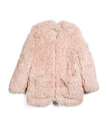 Sparkles Faux-Fur Jacket, Rose, Size 8Y-14Y