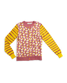 Georgia Pom Pom Button-Front Cardigan, Rose, Size 4Y-14Y