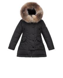 Arrientine Hooded Fur-Trim Down Coat, Black, Size 8-14