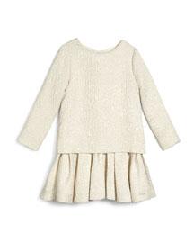 Long-Sleeve Jacquard Illusion Dress, Off White, Size 4-8