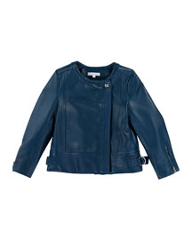 Asymmetric Leather Bomber Jacket, Slate Blue, Size 6-10