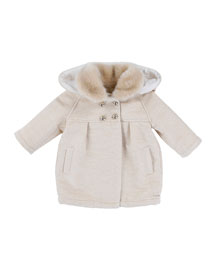 Pleated Double-Breasted Coat, Ivory, Size 12M-3