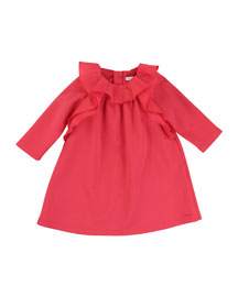 Long-Sleeve Ruffle-Trim Shift Dress, Red, Size 12M-3