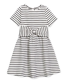 kammy striped stretch-sateen dress, black/white, size 7-14
