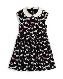 kimberly sleeveless sateen cat-print dress, black/white, size 7-14