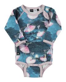 Long-Sleeve Fonda Ballet-Print Playsuit, Blue, Size 3M-2