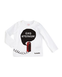 Good Afternoon Long-Sleeve Jersey Tee, White, Size 3M-3Y