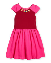 Raglan Colorblock A-Line Dress, Pink/Red, Size 2-6