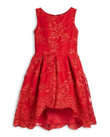 Sleeveless Lace Pleated A-Line Dress, Red, Size 4-6