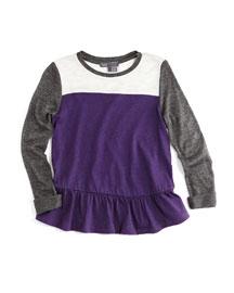 Long-Sleeve Colorblock Tunic, Purple, Size 2-6