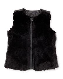Faux-Leather Vest w/ Faux-Fur Front, Black, Size S-XL