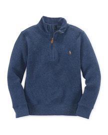 Mock-Neck Half-Zip Pullover Sweater, Size 2-7