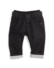 Terry-Lined Denim Jeans, Black, Size 12M-2Y