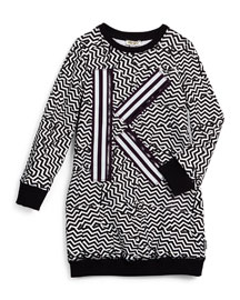 Long-Sleeve Zigzag-Print Knit Sheath Dress, Black/White, Size 6-10