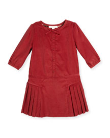 Celie Pleated Corduroy Dress, Peony Rose, Size 4-14