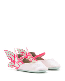 Chiara Leather-Trim Butterfly Mary Jane Flat, Pink, Infant