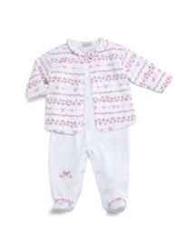 Rosebud Ribbons Pima Footie Pajamas & Jacket, Pink/White, Size Newborn-9 Months