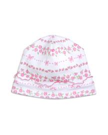Rosebud Ribbons Pima Baby Hat, Pink/White