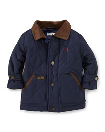 Corduroy-Trim Matte Quilted Coat, Aviator Navy, Size 9-24 Months