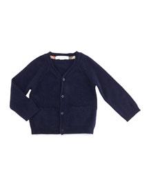 Ellon Button-Front Cashmere Cardigan, Size 3M-3Y