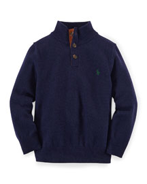 Lux Wool Mock-Neck Pullover Sweater, Hunter Navy, Size 2T-7