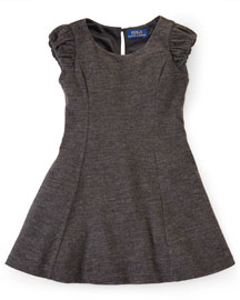 Cap-Sleeve Flannel-Wool Dress, Charcoal, Size 2T-6X