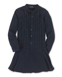 Long-Sleeve Pleated Georgette Dress, Aviator Navy, Size 2T-6X