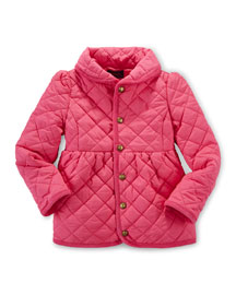 Quilted Corduroy-Trim Jacket, Pink, Size 2T-6X