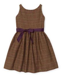 Sleeveless Tweed Glen Plaid Dress, Brown, Size 2T-6X
