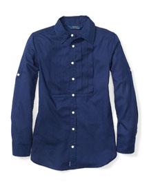 Pleated Twill-Knit Tunic, Size 2T-6X