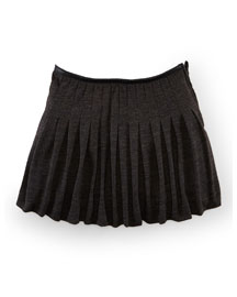 Pleated Wool Skirt, Dark Charcoal, Size 2T-6X