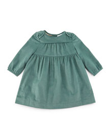 Alara Smocked Corduroy Shift Dress, Teal, Size 3M-3Y