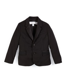 Wool Two-Button Tuxedo Jacket, Black, Size 4-14
