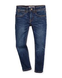 Faded Skinny Jeans, Medium Indigo, Size 4-14