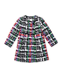 Plaid Couture Tweed Double-Breasted Shift Dress, Multicolor, Size 4-7