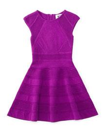 Textured-Knit Swing Dress, Purple, Size 4-7