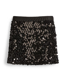 Sequin Mini Skirt, Black, Size 8-14