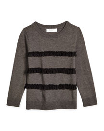 Ruffle-Trim Pullover Sweater, Charcoal Gray, Size 8-14