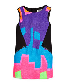 Neon Puzzle Shift Dress, Black/Multicolor, Size 8-14