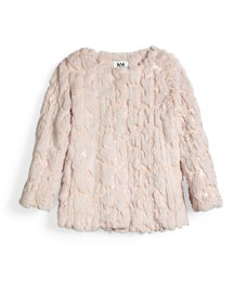 Sequin Faux-Fur Coat, Blush, Size 8-14