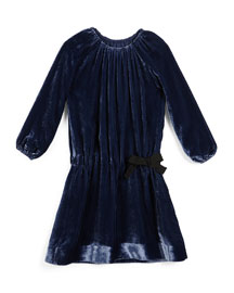 Alys Shirred Velvet Dress, Navy, Size 4-14