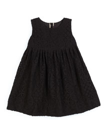 Baleena Sleeveless Smocked Lace Dress, Black, Size 4-14