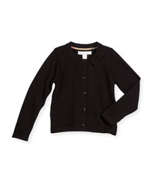 Betheny Cashmere Bow-Trim Cardigan, Black, Size 4Y-14Y