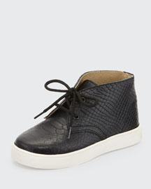 Knight Snake-Embossed High-Top Sneaker, Black/White, Toddler/Youth
