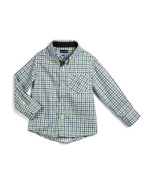 Long-Sleeve Cotton Check Shirt, Green/Blue, Size 2T-7Y