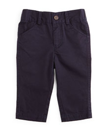 Twill Straight-Leg Pants, Navy, Size 2T-7Y