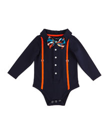 Long-Sleeve Illusion Shirtzie?? w/ Bow Tie, Navy, Size 3-18 Months