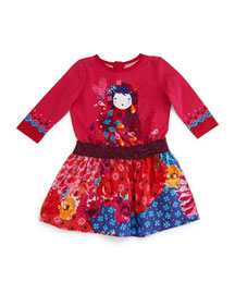 Printed Fit-and-Flare Combo Dress, Fuchsia, Size 3T-6