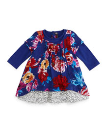 Twill Floral Shift Dress, Royal Blue, Size 6M-2